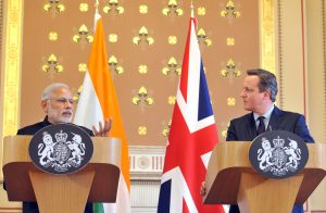 The Prime Minister, Shri Narendra Modi delivering his statement to the media with the Prime Minister of United Kingdom (UK), Mr. David Cameroon, at Foreign and Commonwealth Office, in London on November 12, 2015.
